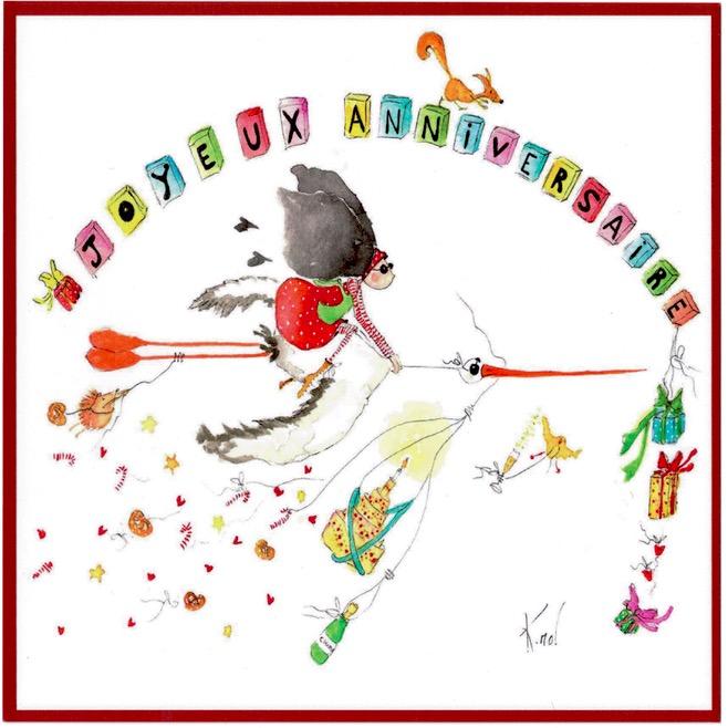 Boutique Gnooss Décoration Alsace Créateurs aquarelles Krolgribouille carte anniversaire carrée